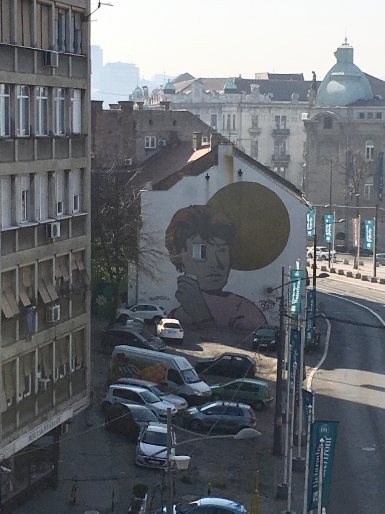 Belgrade mural that looks like David Bowie