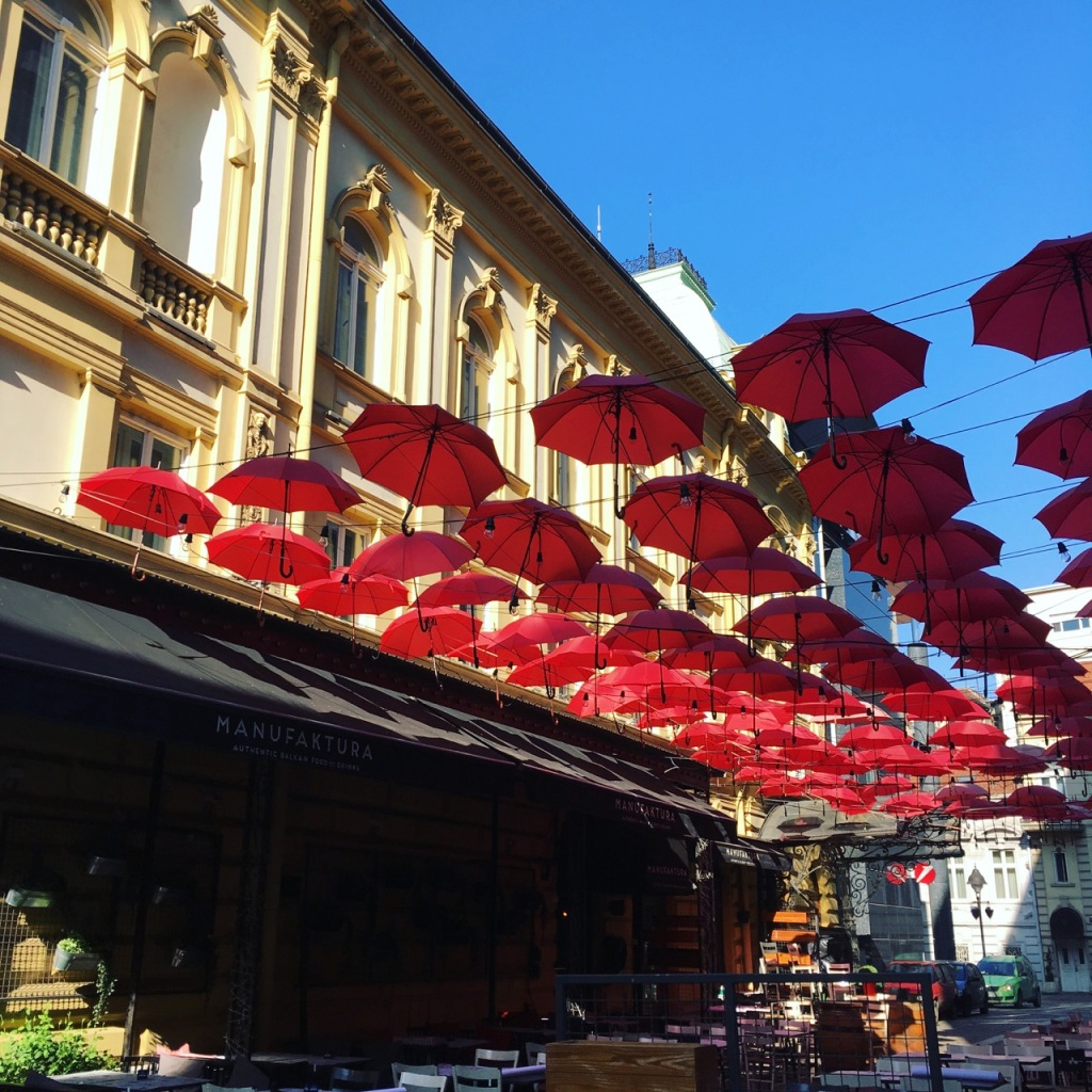 umbrellas outside manufaktura belgrade